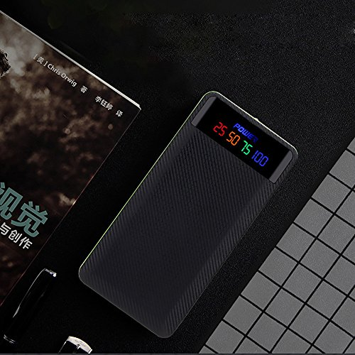 2.1A Dual USB caja del banco de la energía 4pcs 18650 cargador de batería kit de caja de bricolaje para teléfono, DIY cargador de batería Sannysis color Negro