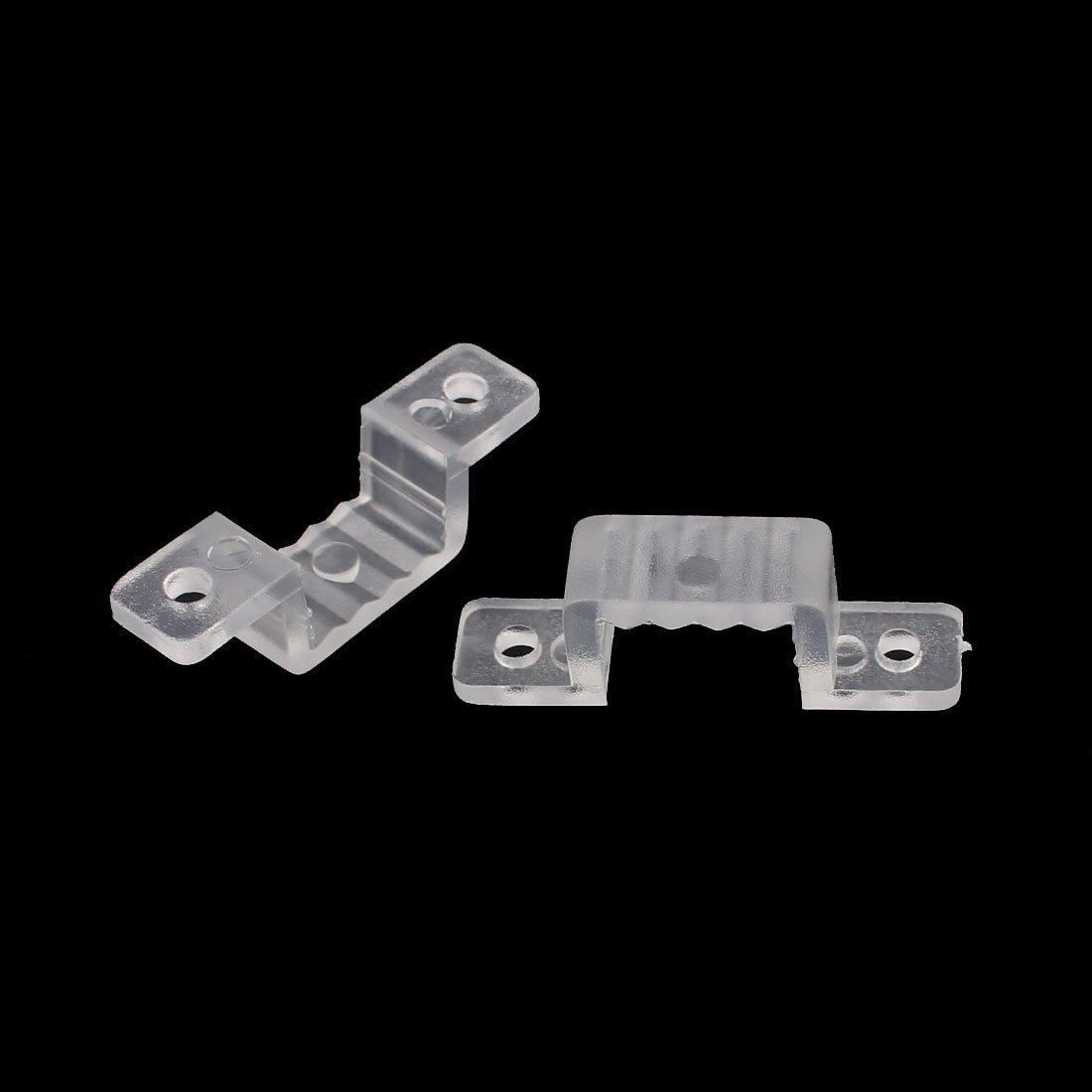 sourcingmap/® 15mm x 7mm Support en plastique fixation bande lumi/ère LED clair 50pcs