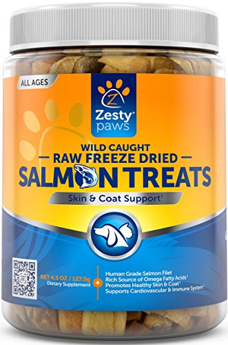 Freeze Dried Salmon Filet Treats for Dogs & Cats - With Pure Raw & Wild Caught Pacific Sockeye Salmon Fish - Omega 3 EPA + DHA Fatty Acids for Joint & Immune Support + Skin & Coat Health - 4.5 OZ -
