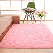Soft Area Rugs,NUOKIM Nursery Rugs for Baby, Thin Carpet for Kids Bedrooms, 4 x 5.3 Feet (Pink)