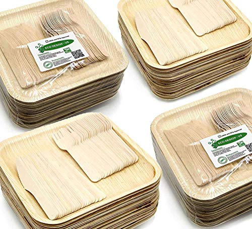 Bamboo Plates Bulk (Holiday Party Dinnerware Eco Set of 300 Eco-Friendly Dinnerware - 100 Disposable 10