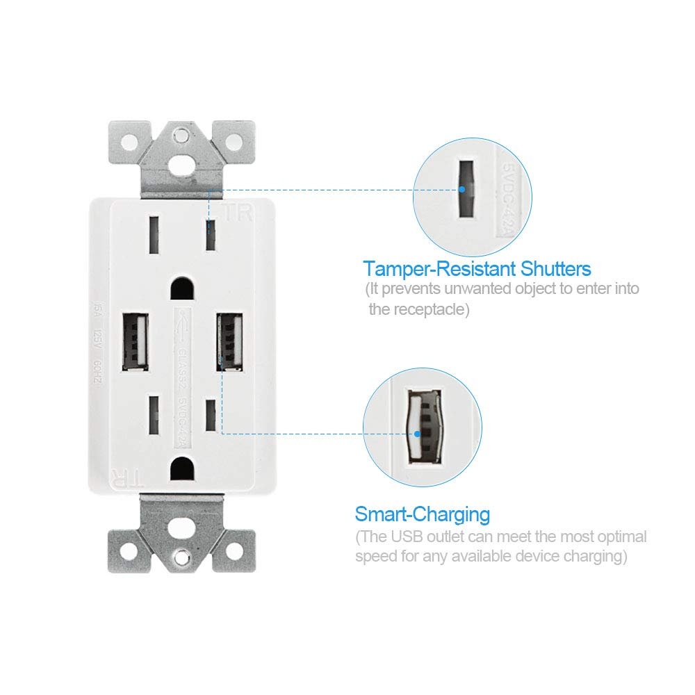 SZICT USB Outlet Receptacle, 10 Pack UL-listed 4.2A Ultra-fast USB Charging Receptacle 2 USB Ports Receptacle Charger, 15A TR Wall Receptacle Outlet with Wall Plate, White by SZICT (Image #4)