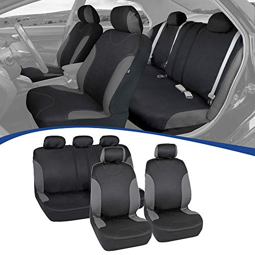BDK NeoFab Seat Saver Series - Car Seat Covers for Automotive Interior Protection - Polyester Cloth 9-Piece Kit