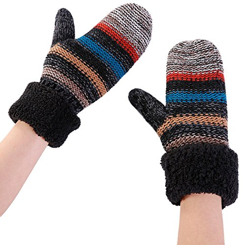 NRUTUP Women Warmer Stripe Cashmere Thicken Knitted Finger Thermal Skiing Gloves Mitten (Black,Free Size)