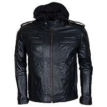 TNA Wrestler AJ Styles Black Hooded Synthetic Leather Jacket