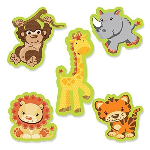 Jungle Safari Shower - Big Dot of Happiness Funfari - Fun Safari Jungle - DIY Shaped Baby Shower or Birthday Party Cut-Outs - 24 Count