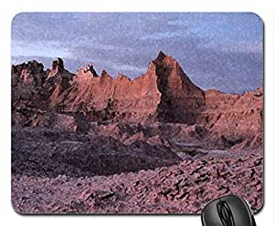Bad Lands at night Mouse Pad, Mousepad (Mountains Mouse Pad, Watercolor style)