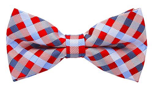 Scott Allan Mens Silk Checkered Bow Tie - Red/Blue
