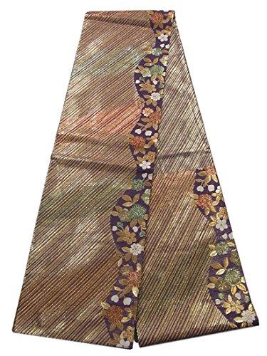 計算可能ナサニエル区元に戻すリサイクル 袋帯 斜め縞に桜の花模様 正絹