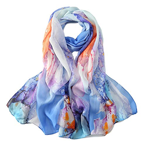JWSilk Long Silk Chiffon Scarf Floral Print (Blue - Floral Silk Long Scarf