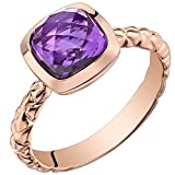 14k Rose Gold Amethyst Cushion Cut Woven Solitaire Dome Ring (2.00 carat)