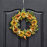 QUNWREATH Handmade 14 inch Sunflowers Series Wreath,Sunflower,Leaf,Fall Wreath,Wreath for Front Door,Rustic Wreath,Farmhouse Wreath,Grapevine Wreath,Light up Wreath,Everyday Wreath,QUNW16