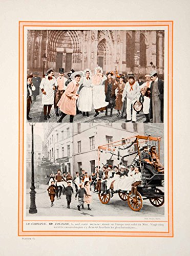1913 Color Print Cologne Carnival Kolner Karneval Celebration Costumes Germany - Original Color Print