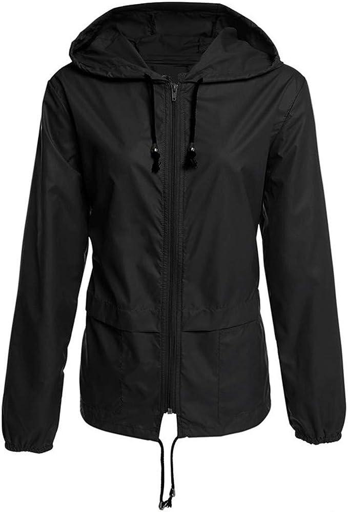 Soluo Women Raincoat Lightweight Hooded Rain Jacket Waterproof with Hood Raincoat Outdoor Windbreaker