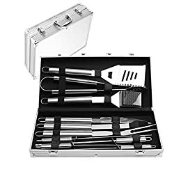 Menschwear BBQ Tool Sets Heavy Duty Stainless Steel Barbecue Accessories Aluminum Case Grill Tools Set (10-Piece) 9 Professional grilling set: grill shovel*1 , fork*1 , knife*1 , tongs*1 , silicone basting brush*1 , grill cleaning brush*1 , skewers*4 . Shovel has a razor sharp serrated edge on one side for easy cutting of meat, a meat tenderizer on the other side, and a built-in bottle opener. Durable and easy to clean: All stainless steel, this 10-piece grill set won¡¯t chip, tarnish or rust. Stylish and safe: Extended stainless handles add elegance and keep your hands away from the flames.