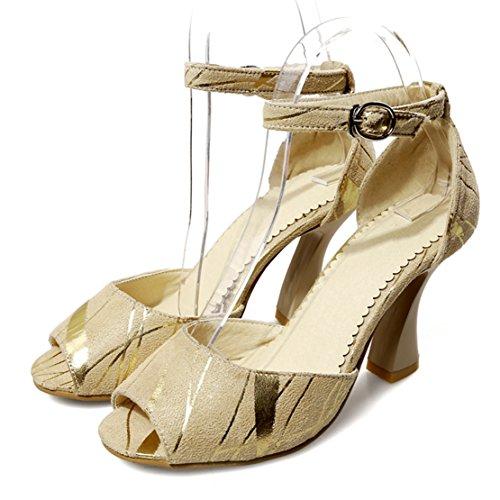 AIYOUMEI Damen Wildleder Peep Toe Knöchelriemchen Sandalen mit 6cm Absatz Blockabsatz Modern Pumps Schuhe Aprikose