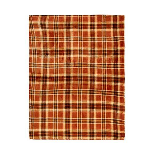 Morgan Throw - Morgan Home Fall Autumn Themed Throw Blanket, 50-Inch x 60-Inch (Orange Plaid)