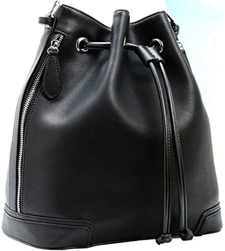 Leather Drawstring Purse - Kenoor Leather Drawstring Bucket Bag Retro Handbags Shoulder Bag Purses Crossbody Bags For Women with Long Shoulder Strap (Black)