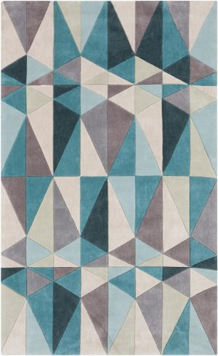 Surya Cosmopolitan COS-9169 Transitional Hand Tufted 100% Polyester Teal Blue 5' x 8' Geometric Area Rug by Surya