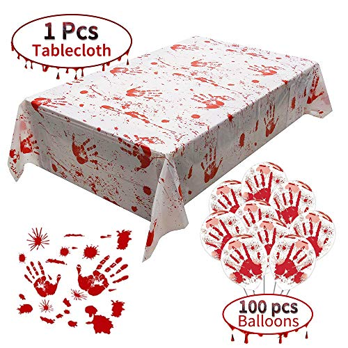 Themes For A Halloween Party (Bloody Table Cover Handprints Bloodstained Tablecloth 1pcs and Halloween balloons 100pcs for Horror Hospital Theme Halloween Party Vampire Zombie Party Decorations)