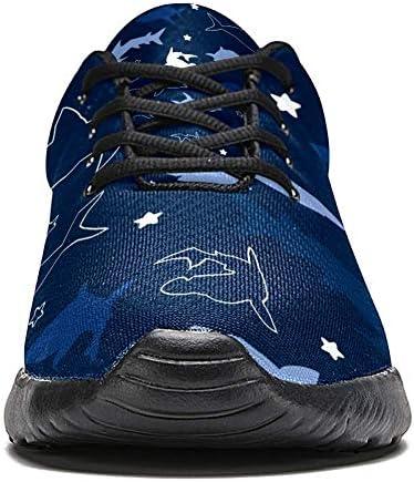 imobaby Chaussures de course de sport pour femme Motif requins en maille respirante pour marche, randonnée, tennis