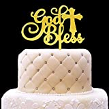 God Bless Acrylic Gold Mirror Cake Topper for Baptism, Christening, Dedication or First Communion Decorations