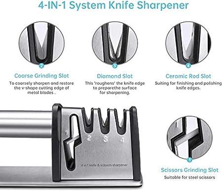 Afiladores manuales de cuchillos Afilador 4 en 1 con base Antideslizante Tijeras para Herramientas de Cocina, Afilador de Cuchillos Manual de Acero de 4 Etapas