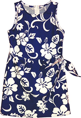 RJC Brand Hibiscus Pareo Girl's Hawaiian Sarong Dress Royal Blue 14