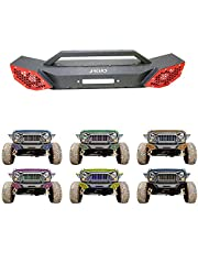 JROAD Compatible with Stubby Front Bumper Jeep Wrangler 07-18 JK JKU Sahara Rubicon Sports 2/4-door 2xLED Fog Lights Built-in Winch Plate Blade Heavy Steel Grille Guard Tube,Installation Video