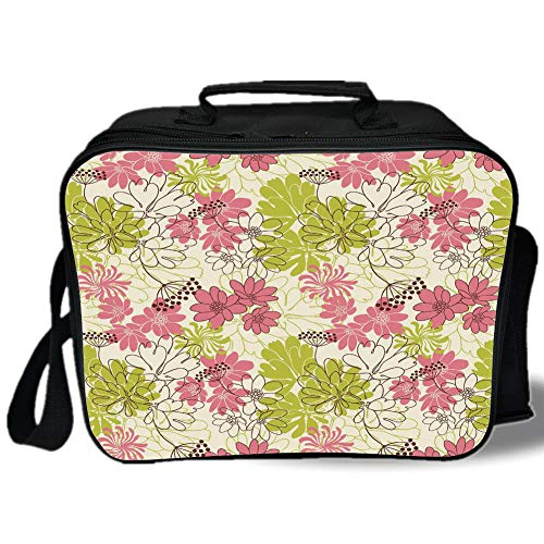 Floral 3D Print Insulated Lunch Bag,Hand Drawn Pastel Petals in Vivid Contrast Nature Tone Blooming Image,for Work/School/Picnic,Eggshell Pink Green