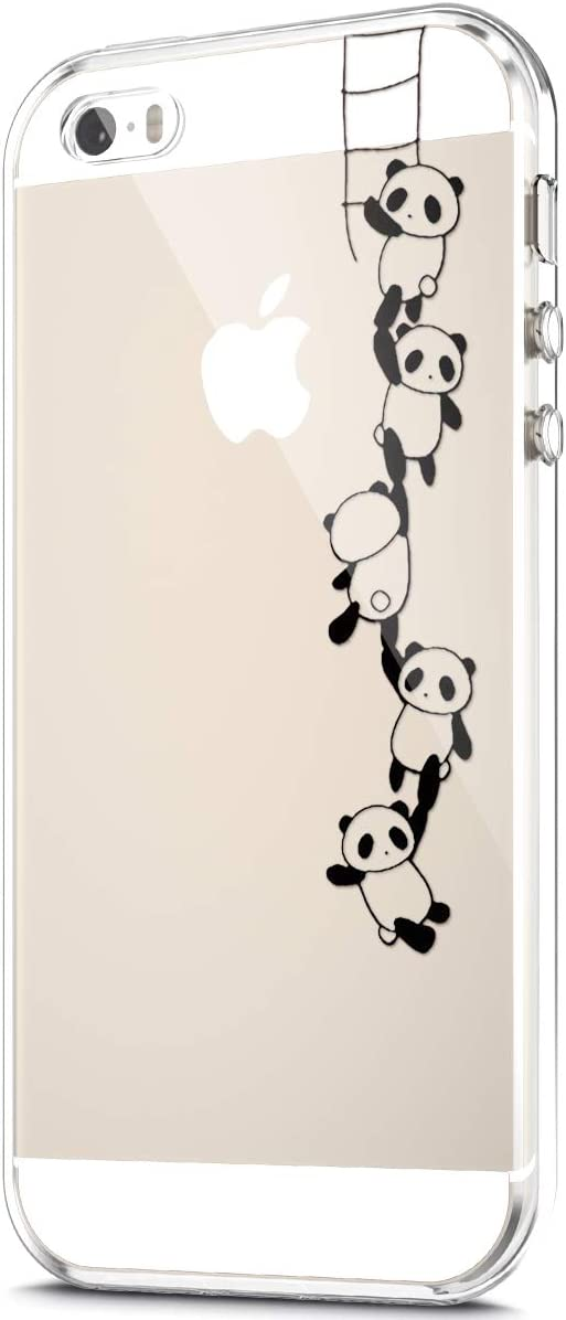 Case for iPhone 8 / iPhone 7 Case,Crystal Clear Art Panited Pattern Design Soft & Flexible TPU Ultra-Thin Transparent Flexible Soft Rubber Gel TPU Protective Case Cover,Panda string