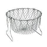 frying basket stainless - Foldable Fry Basket,Chef Basket, Multi-Function Stainless Steel Fry Chef Basket,Poaching Boiling Deep Frying Basket,Fruit Vegetable Rinsing Washing Cook Tool