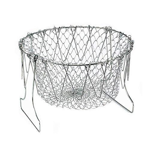- Foldable Fry Basket,Chef Basket, Multi-Function Stainless Steel Fry Chef Basket,Poaching Boiling Deep Frying Basket,Fruit Vegetable Rinsing Washing Cook Tool