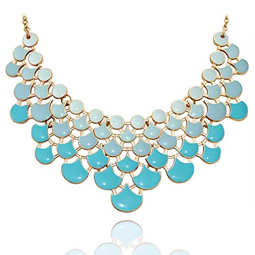 JANE STONE Fan Statement 2019 Fashion Resin Frontal Bib Robin's Egg Blue Peacock Necklace Popular Jewelry