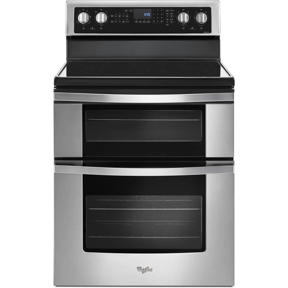 "Whirlpool WGE745C0FS 30"" Stainless Freestanding Double Oven Range"