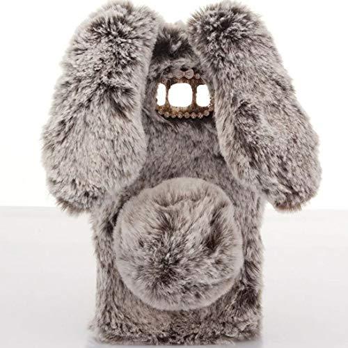 Omorro for Galaxy S9 Case [Plush Rabbit Case] Stylish Desgin Cute Furry Rabbit Bunny Fur Bling Crystal Rhinestone Design Fluffy Cool Soft Protective Cover Slim Shell for Samsung Galaxy S9