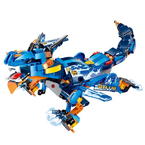 Amaping Electronic DIY Building Blocks Walking RC Smart Dinosaur Robot Toy, New Multi-Functional Walking Dinosaur Robot Battery Powered Christmas Toy Multi-Directional Movement for Kids (Blue)