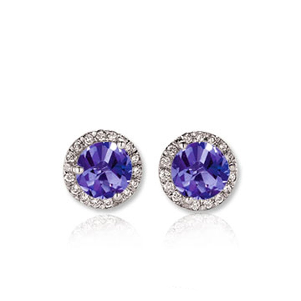0.50 Carat (ctw) 14K White Gold Round Tanzanite & White Diamond Ladies Halo Style Stud Earrings 1/2 CT