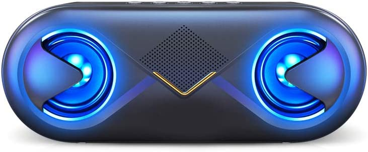 XMAGG® Altavoz Bluetooth Portatil, LED Altavoces, 10W HD y Graves Intensos Driver Doble, Bluetooth 5.0, 12 Horas, Llamadas Manos Libres, 3.5mm AUX/Ranura para Tarjetas TF