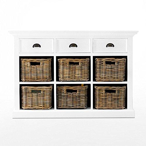 NovaSolo Halifax Buffet with 6 Baskets, White by NovaSolo