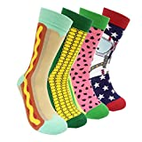 Apparel - Colorful Mens Dress Socks Funky – HSELL Men Multicolored Crazy Pattern Fashionable Fun Crew Socks 4 Pack (C2)