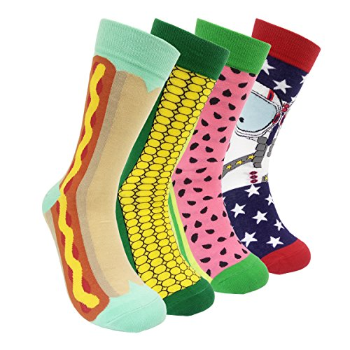 Colorful Mens Dress Socks Funky – HSELL Men Multicolored Crazy Pattern Fashionable Fun Crew Socks 4 Pack (C2) Mens Multi Colored Dress