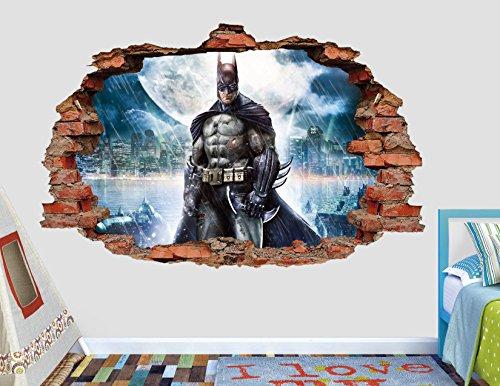Batman Wall Decal Smashed 3D Sticker Vinyl Decor Mural Art - Broken Wall - 3D Designs - AL15 (Large (Wide 34