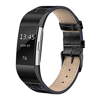 """SWEES Leather Bands Compatible with Fitbit Charge 2, Genuine Leather Replacement Large (6.4"""" - 8.3"""") Wristband Women Men, Black, Coffee Brown, Blue, Retro Brown, Dark Brown"""