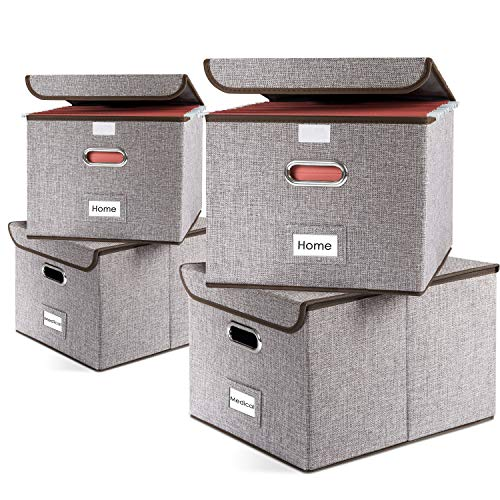 Prandom File Organizer Boxes   Collapsible Decorative Linen Storage Hanging Filing Folders with Lids Office   Letter\Legal   Gray [4-Pack] ()