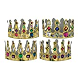 Beistle 66051 72-Pack Printed Jeweled Crowns, 4-Inch