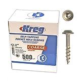 Kreg SML-C1-500 1-Inch Pocket Hole Screws No.8 Coarse, Washer-Head, 500 Pack