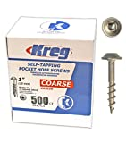 Kreg SML-C1-500 1-Inch #8 Coarse Washer-Head Pocket Hole Screws, 500-Pack