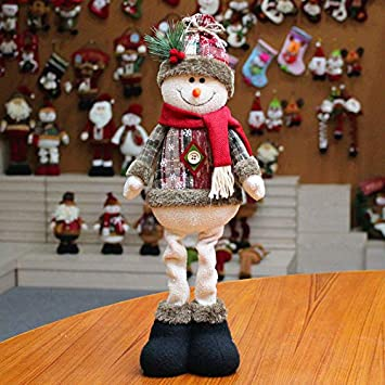 Cute Christmas Plush Doll Toy 7 Inches Decorative Ornaments Stand-up Santa Snowman Elk Doll Creative Decoration for New Year Party Home Store Window