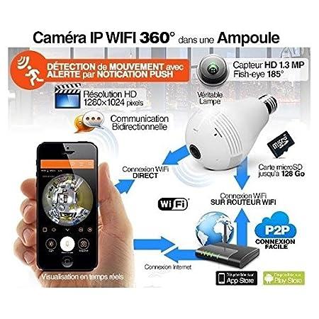 Bombilla cámara espía WiFi IP HD 360 ° con Micro Integrado - Tarjeta Micro SD 16 GB: Amazon.es: Bricolaje y herramientas